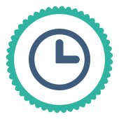 Clock flat cobalt and cyan colors round stamp icon — Stock Vector