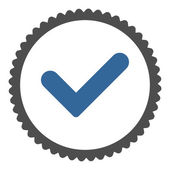 Yes flat cobalt and gray colors round stamp icon — Stock Vector