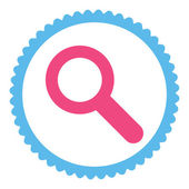 Search flat pink and blue colors round stamp icon — Stock Vector