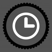 Clock flat black and white colors round stamp icon — 图库照片
