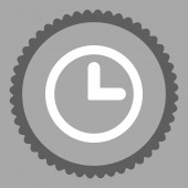 Clock flat dark gray and white colors round stamp icon — 图库照片