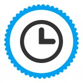Clock flat blue and gray colors round stamp icon — 图库照片