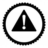 Warning flat black color round stamp icon — Stock Photo