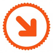 Arrow Down Right flat orange color round stamp icon — Stock Photo