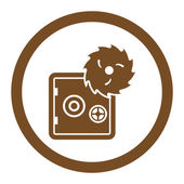 Hacking theft flat brown color rounded glyph icon — Stock Photo