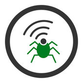 Radio spy bug flat green and gray colors rounded vector icon — Stock Vector