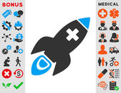 Icono del cohete médica — Vector de stock