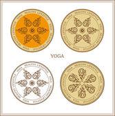 Ensemble de symboles vintage yoga — Vecteur