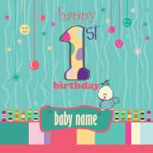 1St Birthday Greeting Card — Stock Vector