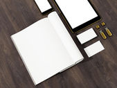 Open magazine, tablet, business cards cover with blank white page mockup on vintage wooden substrate — Stock Photo