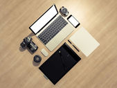 Designer accessories and gadgets on wood background — Stock Photo