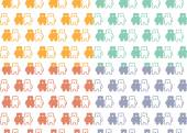 Bears pattern color set — Stock Vector