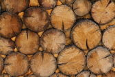 Wall of wooden chocks — Stock Photo