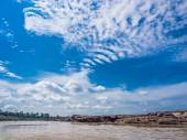 River,stone and blue sky — Stock Photo