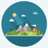 Landscape. Houses in the mountains among the trees. Flat style, — Stock Vector