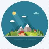 Landscape. Houses in the mountains among the trees. Flat style, — Vector de stock