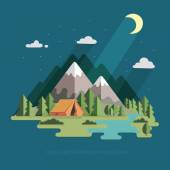 Summer landscape. night landscape in the mountains. Solitude in — Stock Vector