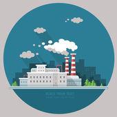 Ecology Concept - industry factory. Flat style vector illustrati — Stockvektor