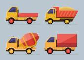 Cute constructions truck  for transportation set icons.  Flat st — Stockvector