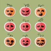 Icons of vegetables and fruit. Pumpkin for Halloween . Flat vect — Stock Vector