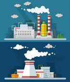 Industrial landscape set. The nuclear power plant and factory on — Stock Vector