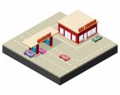 Isometric gas station with cars, gasoline pump nozzles and markings on the road — Stock Vector