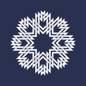 Eight pointed mandala in snowflakes form on dark background. — Stock Vector