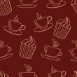 Cute cups and cakes. Vector illustration. — Stock Photo #78149914