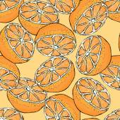 Seamless pattern with sliced oranges. — Stock Vector