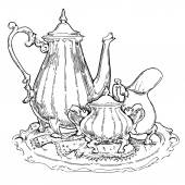 Hand made sketch of tea sets. Vector illustration. — Stock Vector