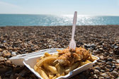 Fish and Chips by the sea — Stock Photo