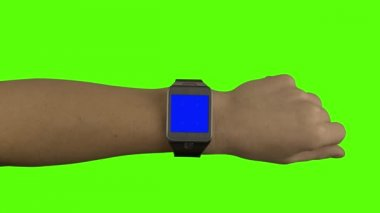 Smart-watch mock-up with gestures and chroma keying and white stripe — Stock Video