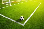 Soccer grass field with marking and ball, Sport — Stock Photo