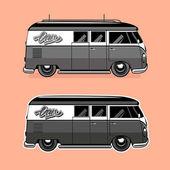 Illustrazione vettoriale di un furgone di viaggio retrò — Vettoriale Stock