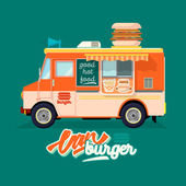 Cartoon fast-food car with a big hamburger on a white background — Stock Vector