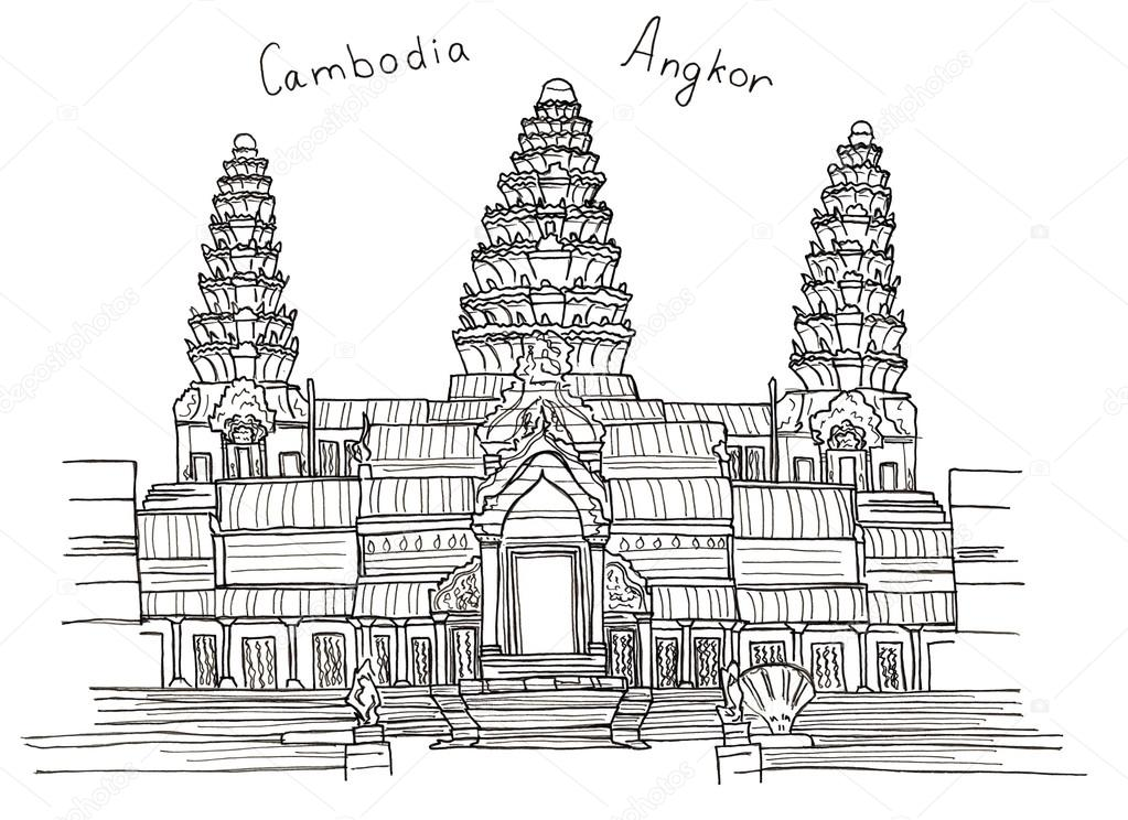 Angkor Wat Colouring Pages Sketch