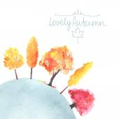 Watercolor autumn trees made in vector — Stock Vector
