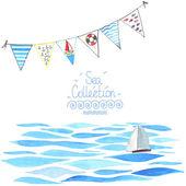 Meer Hintergrund mit Segelboot und garland. — Stockvektor