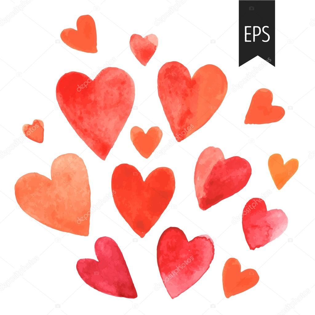 Stock Illustration Set Of Red Watercolor Hearts on Watercolor Heart