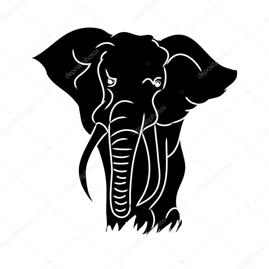 Silhouette d 39 l phant noir image vectorielle mila endo - Tete elephant dessin ...