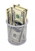 Empty container and banknotes dollar — Stock Photo