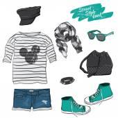 Teenager summer look — Stock Vector