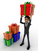 3d man holding gift on head and with many other gifts concept — Stock Photo