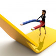 3d woman attract arrow up side using magnet concept — Stock Photo #78150200