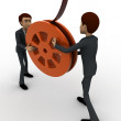 3d man holding film reel in hand concept — Stock Photo #78152136