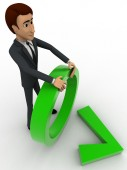3d man holding circle and green right symbol concept — Stock Photo