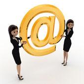 3D-vrouw met grote gouden e-mail pictogram concept — Stockfoto