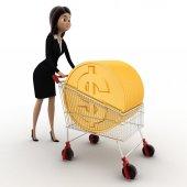 Donna 3d disegnare carrello con la moneta dorata del concetto del dollaro — Foto Stock