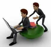 3d one man reading e book on laptop and another man stealing book from behind concept — Stock Photo