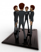 3d men standing on touch screen tablet and doing conference call concept — Stock Photo